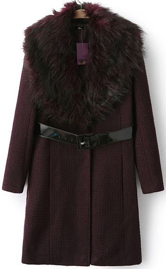 Wine red faux fur collar slim woolen coat