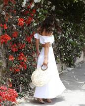 bag,skirt,tumblr clothes,tumblr,tote bag,round tote,maxi skirt,long skirt,white skirt,matching set,top,white top,off the shoulder,off the shoulder top,crop tops,sandals,sandal heels,high heel sandals,shoes