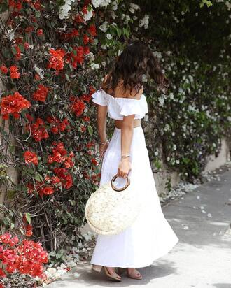 bag skirt tumblr clothes tumblr tote bag round tote maxi skirt long skirt white skirt matching set top white top off the shoulder off the shoulder top crop tops sandals sandal heels high heel sandals shoes