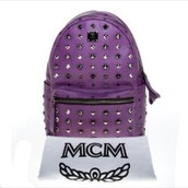 bag,mcm backpack,purple,mcm,backpack
