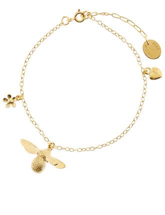 baby bee charm bracelet gold