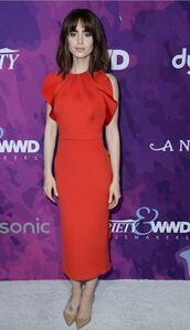 dress,midi dress,red dress,lily collins,pumps