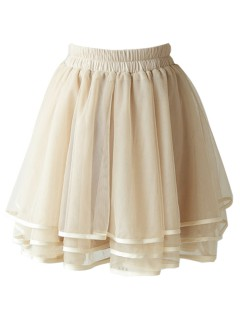 Beige layered mesh skater skirt with trim