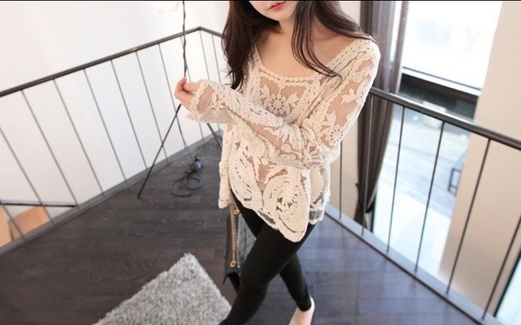 Simply Hollow Long Sleeve Lace Blouse: tidestore.com