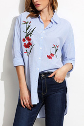 shirt,blue-white-stripe-pattern-embroidery-single-breasted-chic-shirt,button up shirt,28719,hanmade embroidery