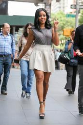 top,skirt,sandals,Angela Simmons,platform sandals,shoes