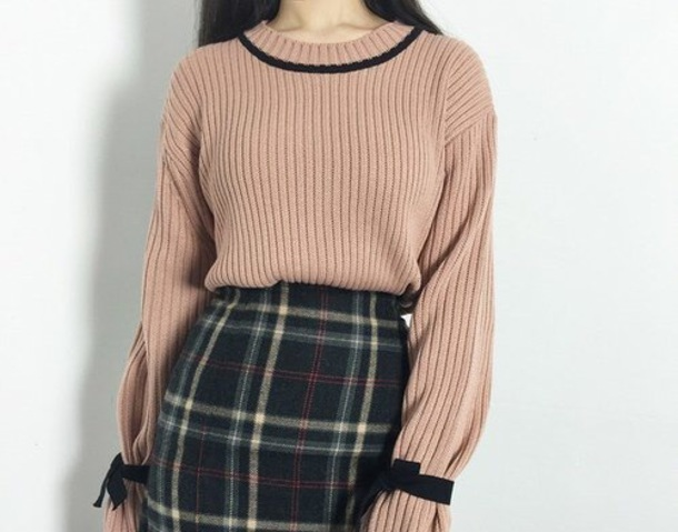 sweater ribbons long sleeves