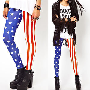 Sexy Women Stars Stripes Leggings USA American Flag Stretchy Tights Pants | eBay