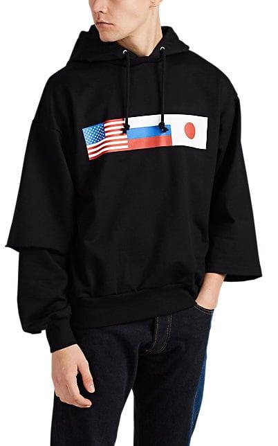 Gosha Rubchinskiy Flag-Print Cotton Oversized Hoodie | Barneys New York