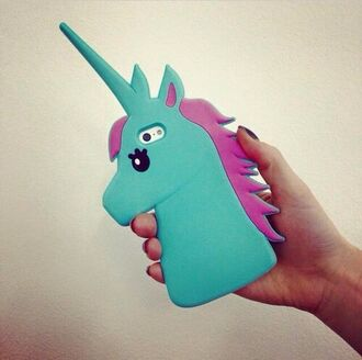 phone cover home accessory phone unicorn licorne funny cool blue pink