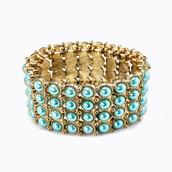 jewels,pearl links bracelet - turquoise,pearl links bracelet