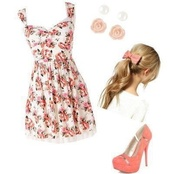 dress,coral,floral,shoes,bows,flowers,earrings,floral dress