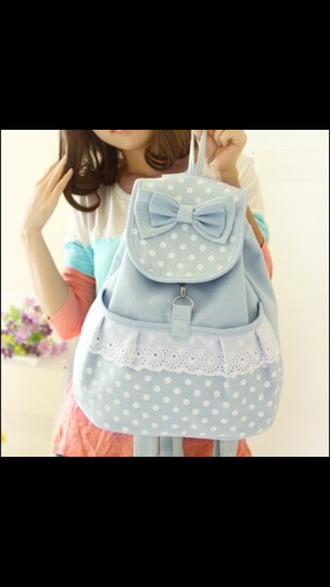 bag backpack bow polka dots