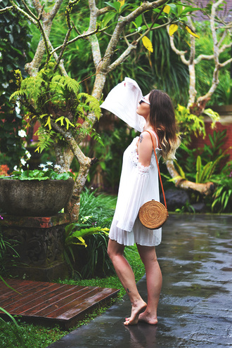 dress tumblr mini dress pleated dress pleated off the shoulder off the shoulder dress white dress bag round bag