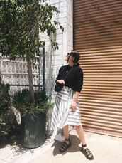 shoes,sandals,black sandalss,balck sandals,skirt,top,black top,bag,sunglasses
