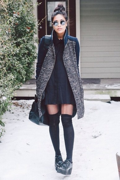 round sunglasses coat panty high knee socks plateau shoes shoes