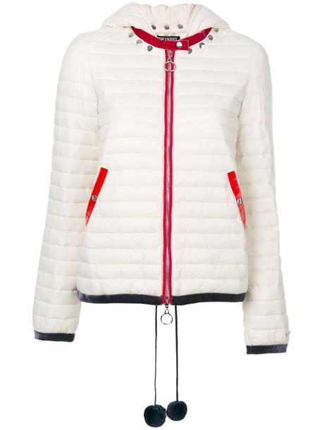 jacket hooded jacket studded women white
