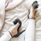 shoes,chinese laundry,faux fur heels,pom pom heels,suede heels