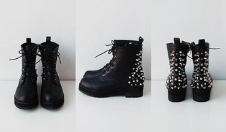 shoes combat boots boots studs studded shoes leather grunge punk