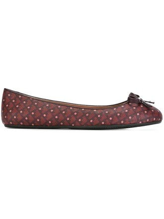 women polka dots leather purple pink shoes