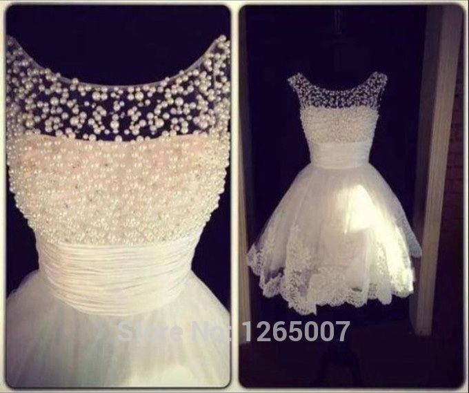 Aliexpress.com : Buy New Boat Neck Cap Sleeves Pearl Top Ruffles Waist Lace Mini Wedding Dress For Party Elegant Dress from Reliable boat neck dress suppliers on SFBridal