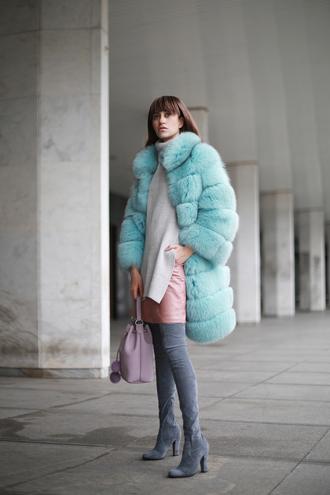 tina sizonova blogger suede boots grey boots thigh high boots fur coat bucket bag long fur coat pastel coat aqua mint mint coat winter coat