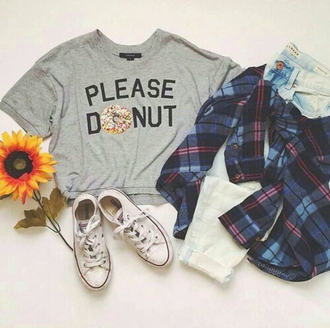 t-shirt donut please donut grey crop tops