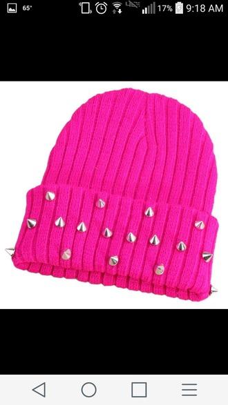 hat hot pink studs studded hat beanie pink beanie