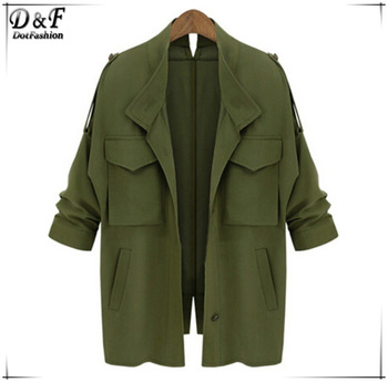Women new arrival fashon european brands spain desigual high quality hot sale army green long sleeve pockets loose coat