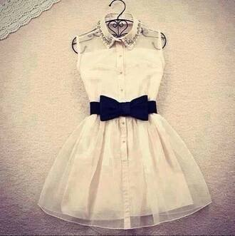 pearl pearl dress creamy black bow glitters