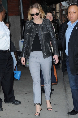 jacket leather jacket jennifer lawrence sandals