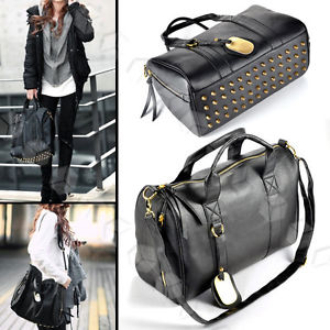 Celebrity Women Punk Rivet Studded Bottom Black Duffel Tote Bag Hobo Handbag Big | eBay