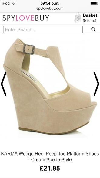 shoes cream peep toe wedges wedges