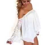blouse,white,lace,long,cute,white blouse,jumpsuit,nude