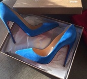 shoes,blue,royal blue,heels,court heels,high heels,pointed toe pumps