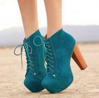 high heels platform lace up boots