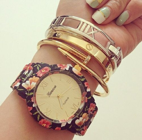 """floral vibe"" flower print watch (5 colors available) – glamzelle"