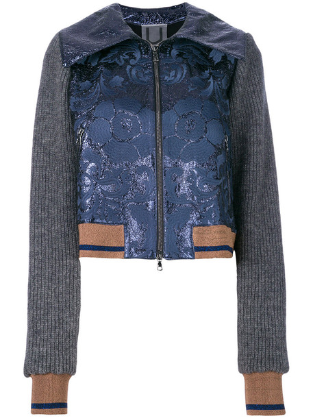 Aviù Aviù - floral and rib detailed bomber jacket - women - Mohair/Polyester/Polyamide/Acrylic - S, Blue, Mohair/Polyester/Polyamide/Acrylic