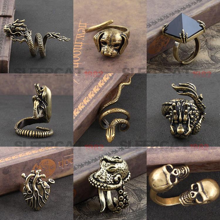 Copper ring punk avp alien skull dragon heart dog snake animals adjustable noble