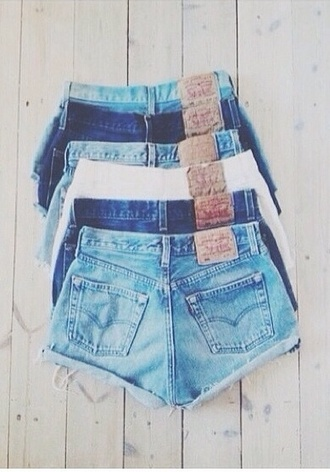 shorts denium denim shorts high waisted plain blue basic denim vintage levis high waisted short