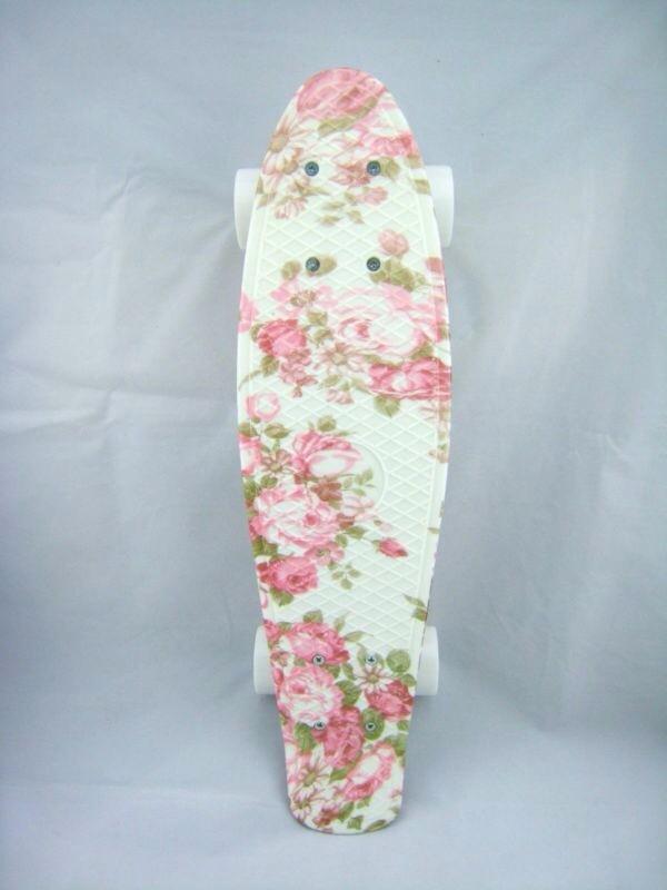 penny board floral white pink skater hipster wishlist