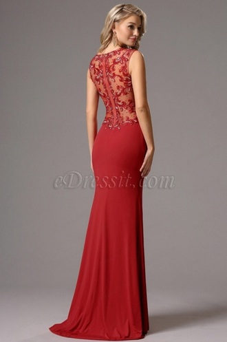 red dress red lace lace dress open back prom dress evening dress party dress sexy dress