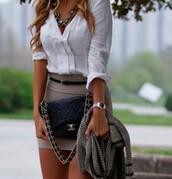 skirt,bag,necklace,button down,bodycon,belt,shirt,jacket,jewels