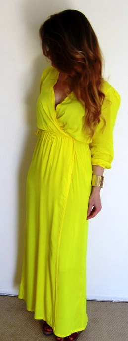 LAST ONE LEFT Yellow Maxi Dress  faux wrap by TheBohemeGirl