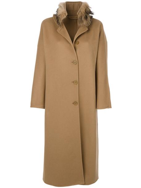 coat long coat long fur fox women wool brown