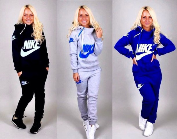 Jumpsuit tracksuit royal blue sportswear nike nike sportswear grey sweatpants sweater ...