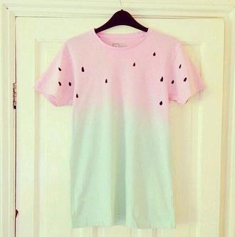 shirt red green seeds watermelon shirt cute shirt red shirt green shirt watermelon print tie dye shirt cute shirts