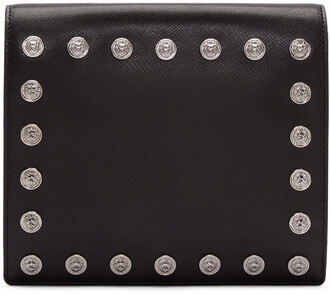 studded clutch black bag