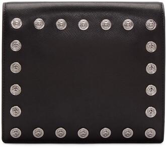 studded clutch black bag