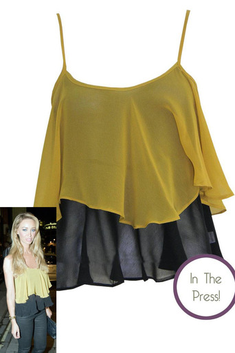 Ladies Loleen Chiffon Layered Top in Mustard | Pop Couture